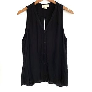 Anthro Cloth & Stone Button Open Back Twist Top